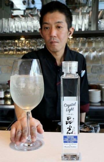 岡山県産二条大麦を原料にしたウオッカ。ジンジャーエールなどで割るのがお勧めという