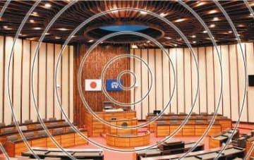議長の椅子を巡って揺れる大分市議会の議場=2018年12月(画像を一部加工しています)