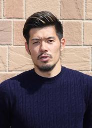 神戸から日本代表に選出され、報道陣に対応する山口(撮影・吉田敦史)