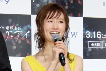 WOWOWの主演ドラマ「連続ドラマW 東野圭吾『ダイイング・アイ』」の完成披露試写会に登場した松本まりかさん