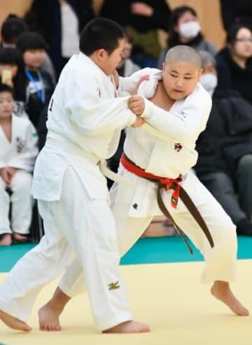 【県少年柔道大会で熱戦を繰り広げる児童ら=津市北河路町の三重武道館で】
