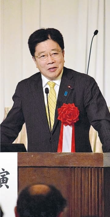 参院選に向け態勢強化を求めた加藤氏=17日、仙台市青葉区
