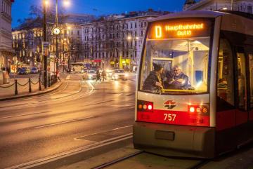 黄昏に染まるウィーンの街角