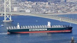 明石海峡大橋の下をくぐり抜けていくメガコンテナ船=18日午後、淡路市野島江崎の大阪湾海上交通センターから