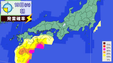 19日(火)朝の発雷確率