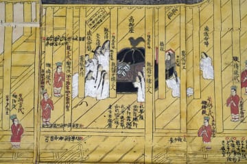 江戸時代の東山天皇の即位式を描いた版画。中央が天皇が鎮座する「高御座」(大津市歴史博物館提供)