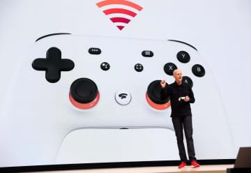 グーグルが発表したゲームができる新サービス「スタディア」=19日、サンフランシスコ(ゲッティ=共同)