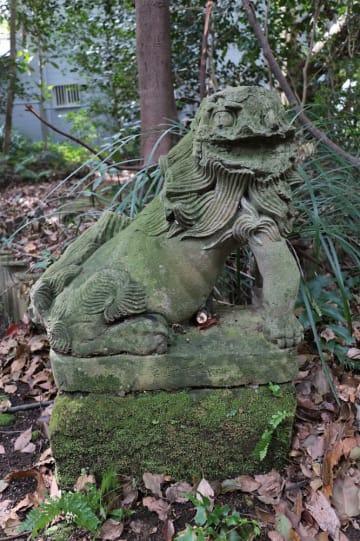 被爆した可能性があると指摘された山王神社のこま犬=長崎市坂本2丁目
