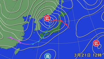 21日正午の天気図