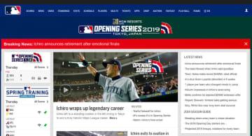 MLB公式サイトでも大きく伝える