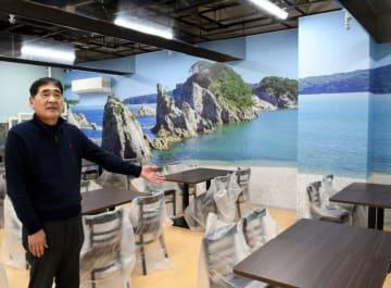 新たな魅力「魚菜広場」をPRする坂下正明理事長