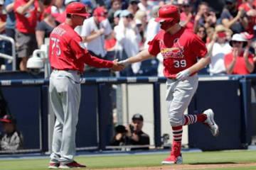 ストラスバーグから本塁打を放ったかカージナルスのマイルズ・マイコラス【写真:AP】