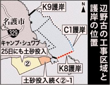 辺野古:新たな土砂投入区域、面積は埋め立て全体の2割