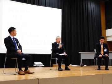 東日本大震災での活動について語る(左から)佐藤さん、太田さん、安西さん =横浜市民防災センター