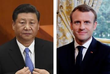 中国の習近平国家主席、フランスのマクロン大統領(ロイター=共同)