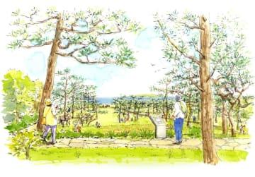 再生した滄浪閣の松林と庭園のイメージ(昭和記念公園大磯分室提供)