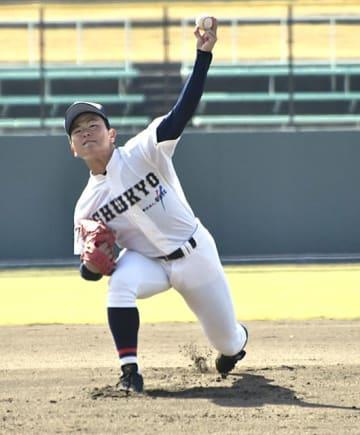 中京院中京×作新学院=第1試合、緩急をつけた投球で7回1失点と好投したエース不後=長良川