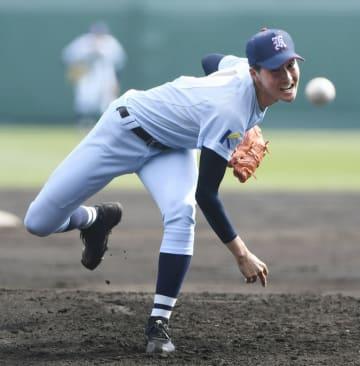 第91回選抜高校野球大会1回戦、桐蔭学園戦に先発した啓新・安積航大=3月27日、甲子園