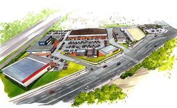旧県立こども病院跡に開業する複合商業施設のイメージ(神鋼不動産提供)