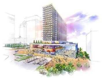 27年以降に海浜幕張駅前に建設予定の、ホテルなどからなる複合施設の完成イメージ