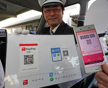 QRコード決済を導入したタクシー=佐世保市相浦町、長崎第一交通佐世保営業所