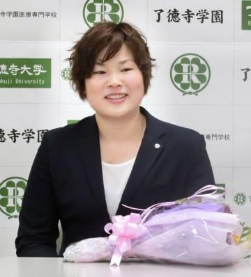 記者会見で現役引退を表明した柔道女子の緒方亜香里=28日、千葉県浦安市