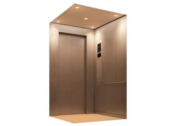 機械室のないエレベーター「ネクシーズ—ライト・エムアールエル」、写真は10人乗りタイプ(三菱電機提供)