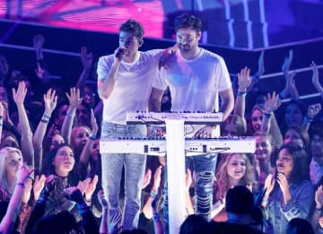 INGLEWOOD, CA - MARCH 05: DJs Andrew Taggart (L) and Alex Pall performonstage at the 2017 iHeartRadio Music Awards which broadcast live on Turner's TBS, TNT, and truTV at The Forum on March 5, 2017 in Inglewood, California. (Photo by Rich...