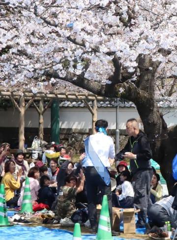 花見客と握手し、支持を訴える県議選候補(中央)=大村市、大村公園(写真は一部加工)