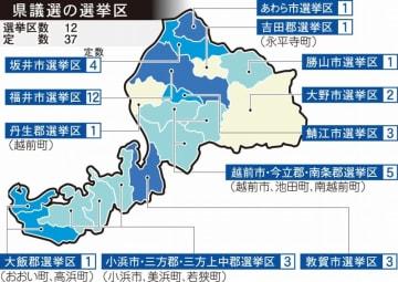 福井県議選の選挙区と各区の定数