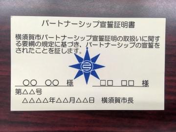 横須賀市が発行する「パートナーシップ宣誓証明書」の見本。持ち歩ける名刺サイズになっている