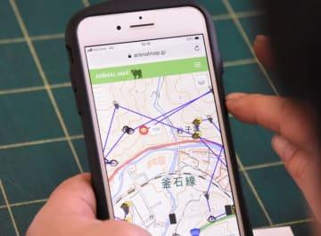 パソコンやスマートフォンでニホンザルの位置が分かる「アニマルマップ」の画面。サルのイラストで夜間の行動なども確認できる