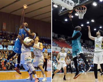 【写真左】3月の琉球戦で得点源となった滋賀のダーラム(5)=ウカルちゃんアリーナ【写真右】チームの大黒柱として活躍する京都のマブンガ(中央)=ハンナリーズアリーナ