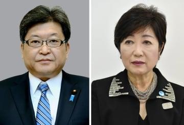 自民党の萩生田光一幹事長代行、小池百合子東京都知事