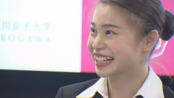 武庫川女子大学への入学を発表した杉原選手