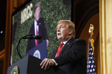 米共和党の集会で話すトランプ大統領=2日、ワシントン(AP=共同)