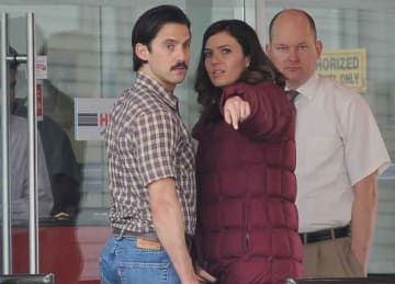 Mandy Moore back at work from the holidays filming new scenes on the set of