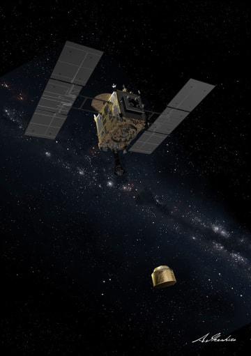 小惑星の表面に人工クレーターをつくる「衝突装置」を分離するはやぶさ2の想像図(JAXA提供)