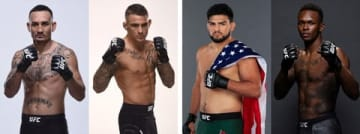 「UFC236」に出場する(左から)マックス・ホロウェイ選手、ダスティン・ポワリエ選手、ケルヴィン・ガステラム選手、イズラエル・アデサニヤ選手(C)GettyImages