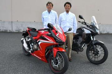 ホンダ CBR400R 新型の魅力を語ってくれた井上善裕氏(左)と古川和朗氏(右)