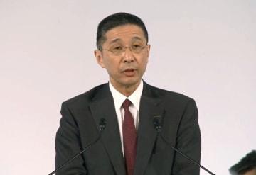 日産自動車の臨時株主総会であいさつする西川広人社長兼CEO=8日午前、東京都内(ユーチューブから)
