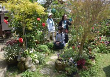 バラなど100種類以上の花がナチュラルに植えられた當山美枝子さんの庭=6日、南城市玉城屋嘉部