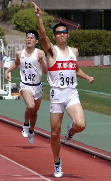 男子800メートル決勝を制した京産大の本井