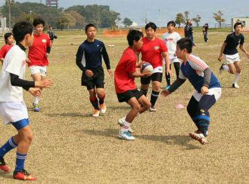 練習に励む別府ラグビースクールの中学生たち=7日、別府市の別府国際観光港