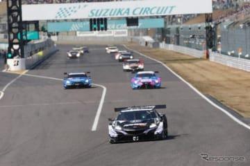 3月に開催された、モースポフェス 2019 SUZUKA~モータースポーツファン感謝デー~でのSUPER GT車両走行の様子