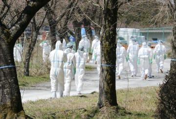 豚コレラが発生した岐阜県恵那市の養豚場へ防疫作業に向かう作業員=9日午前