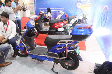 Avan Motors, an Indian electric vehicle startup, showcases its e-scooter models in New Delhi on March 22. The electric two-wheeler segment accounts for over 90 percent of India's EVs.