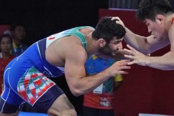 アジア大会王者としてアジア選手権に出場するアリレザ・カリミマチアニ(イラン)