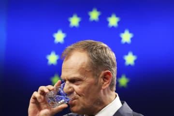EUのトゥスク大統領=9日、ブリュッセル(AP=共同)
