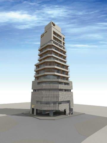 カンナが那覇市久米で建設を進める新ホテル「ディーゴホテル」のイメージ図(同社提供)